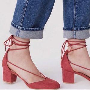 LOFT Pink Faux Suede Luxe Up Block Heel